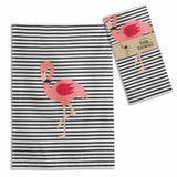 Holiday Pink Flamingo Black Striped Apron - 2-Towels - 2 Pot Holder Gift Set