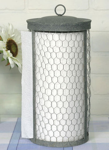 Classic Early American Country Primitive Chicken Wire Rustic Paper Towel Holder