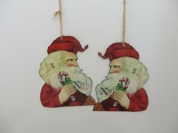"Old St. Nick Double-sided Flat 5.5"" Metal Christmas Ornament Hang on Tree /gift"