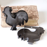 Tin ROOSTER COOKIE CUTTER Rustic Country Decor Ornaments in Smokey Black