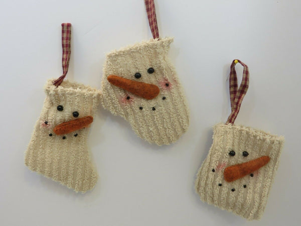 "SNOWMAN Ornament Chenille Set of 3- One each 4""H Snowman Stocking Snowman Mitten"