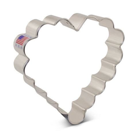 Scalloped Heart Cookie Cutter Made from USA Tin Plated Steel By Ann Clark