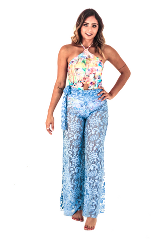Blue Pants Lace Cover up