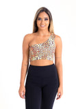 One Sleeve Fitness Top - Animal Print
