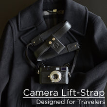 Black Leather Camera Lift-Strap