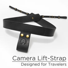 New Black Leather Camera Lift-Strap