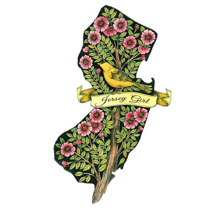 "14"" x 17"" NJ Print, Jersey Girl, Goldfinch in Pink Flowers"