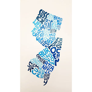 Counties Print - Blue Unframed - Prints & Artwork