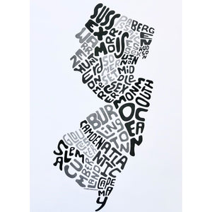 Counties Print - Gray/Black Unframed - Prints & Artwork