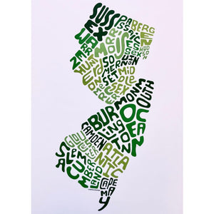 Counties Print - Green Unframed - Prints & Artwork