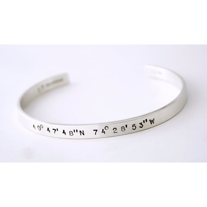 Men's Custom Stamped Silver Cuff Bracelet