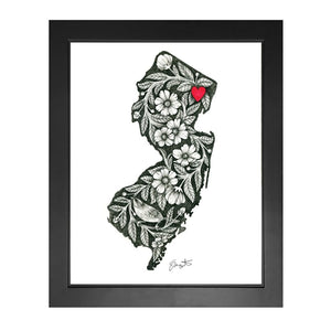 New Jersey Black & White Flowers w/ Red Heart Print - Prints & Artwork
