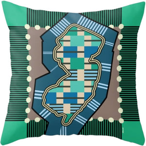 NJ State Pillow in Assorted Designs - Green Blue - Home & Lifestyle