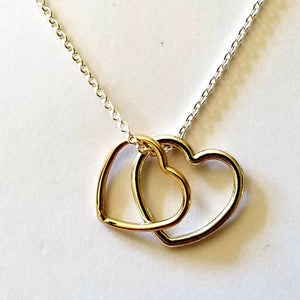 Two Hearts Pendant Silver & Gold - Jewelry & Accessories