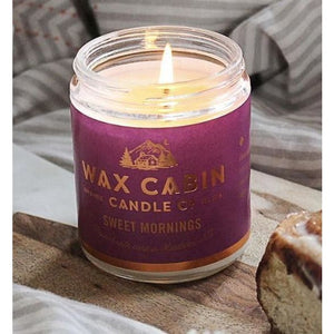 Wax Cabin Soy Candle 8oz. - Sweet Mornings Purple Label - Home & Lifestyle