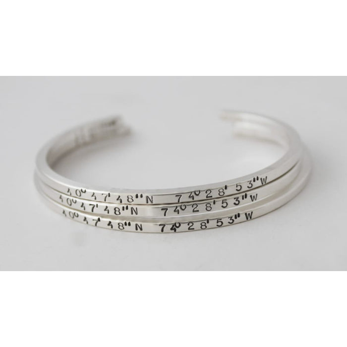 Women's Custom Stamped Silver Bracelet