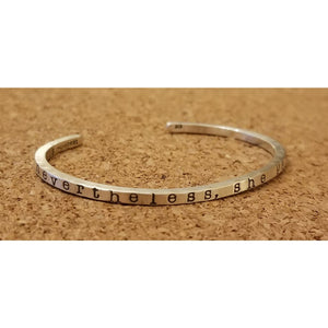 Womens Custom Stamped Silver Bracelet - Slim 1/8 Cuff / Small - Jewelry & Accessories