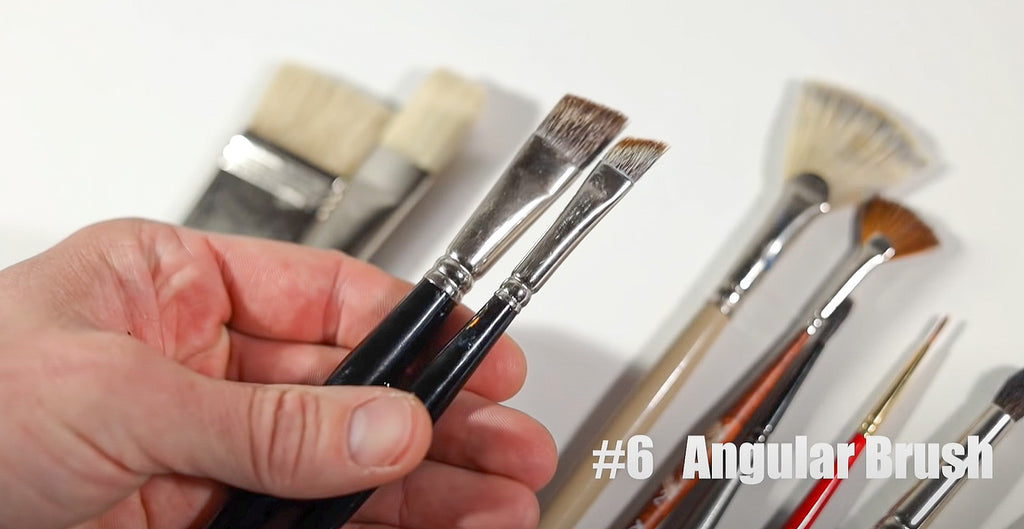 Angular brushes are excellent for painting with oils and acrylics