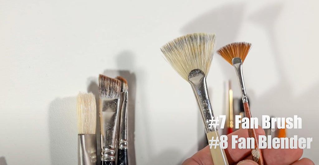 fan brushes are great for blending and creating unique textures with oils and acrylics