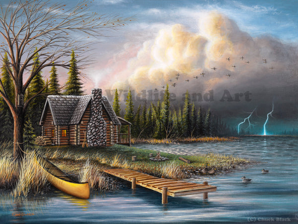 Cabin painting - wall art decor - wildlife art - chuck black