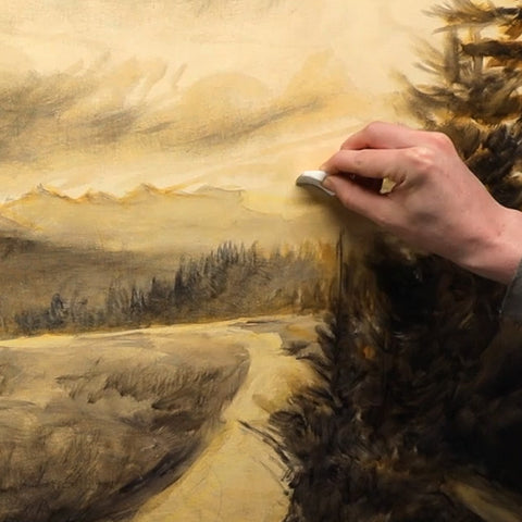 fix paintings with a makeup sponge