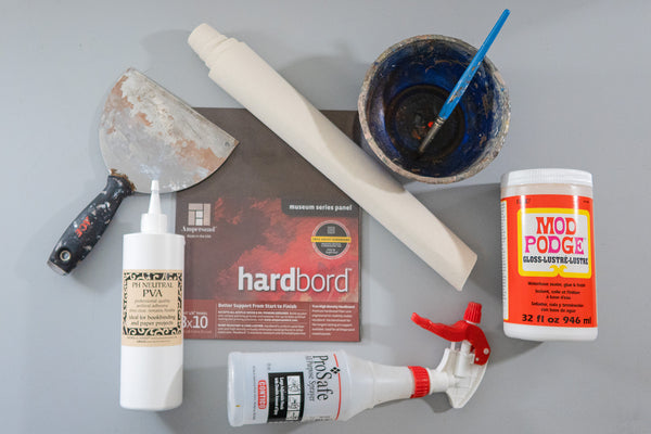 The supplies you'll need to make your own professional quality canvas panels at home