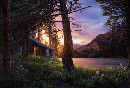 """Blissful Solitude"" 24x36"" Lakeside Cabin Landscape Painting"