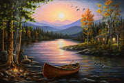 "Lake Cabin Landscape Painting - ""Campfire Stories"" 16x24"