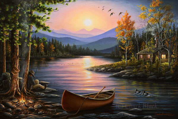 "Lake Cabin Landscape Art Print - ""Campfire Stories"""