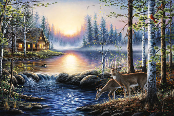 "Lake Cabin Canvas Art Print - ""Total Bliss"""