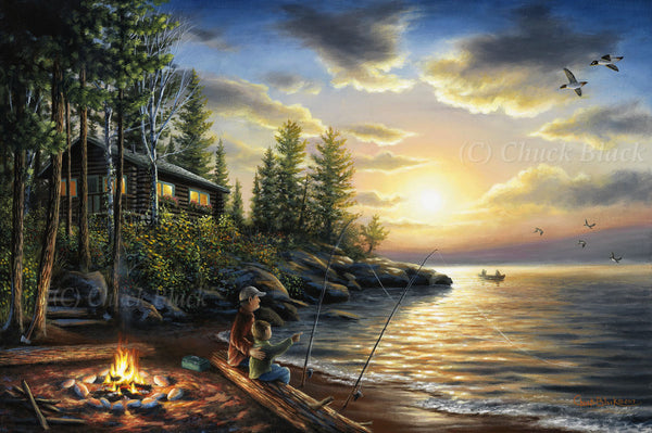 "Rustic Cabin Landscape Canvas Art Print - ""Summer Nights"""