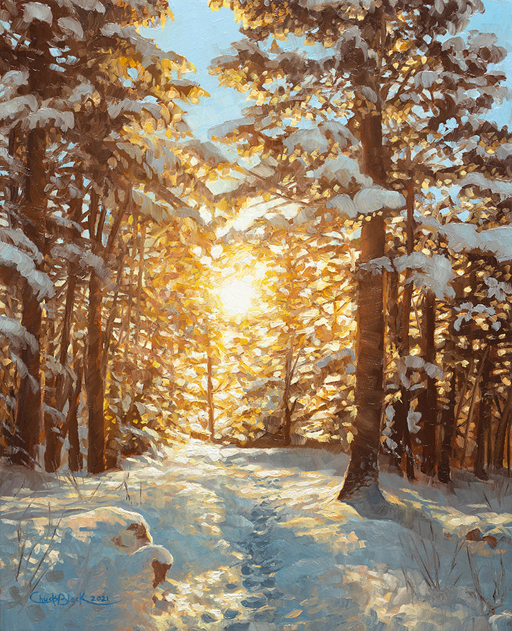 8x10 Snowy Forest Landscape Painting
