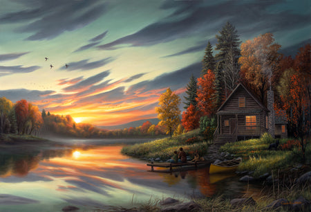 """Lakeside Memories"" - Rustic Cabin Art Print"