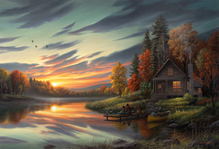 """Lakeside Memories"" - Rustic Cabin Canvas Print"
