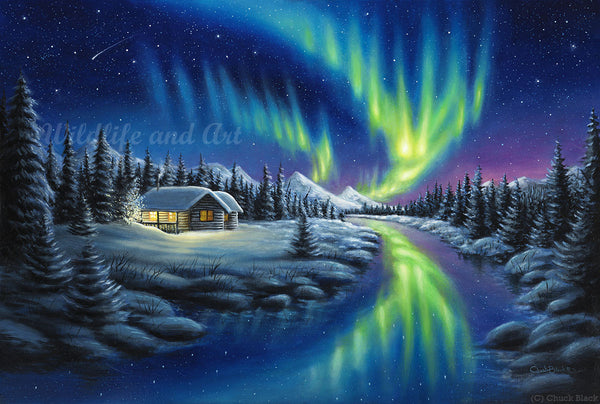 "Original Northern Lights Painting - ""Make A Wish"" 18x12 - art print - original art - Wildlife and Art by Chuck Black"