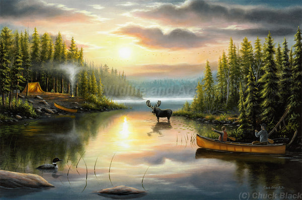 "Landscape Nostalgia Canvas Art Print - ""Memories With Dad"" - art print - original art - Wildlife and Art by Chuck Black"