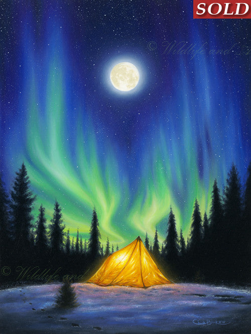 Attractive Original Northern Lights Painting    Idea