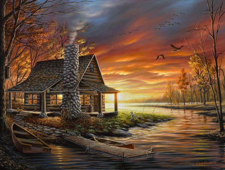 "Rustic Lake Cabin Painting - ""The Perfect Spot"" 18x24"