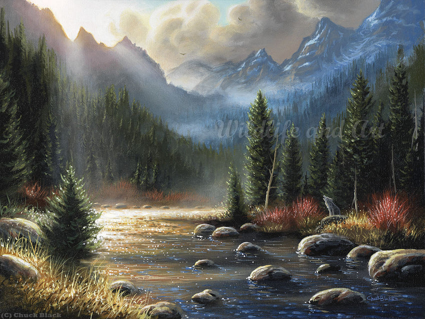 "Mountainous Landscape Canvas Art Print - ""The Calling"" - art print - original art - Wildlife and Art by Chuck Black"