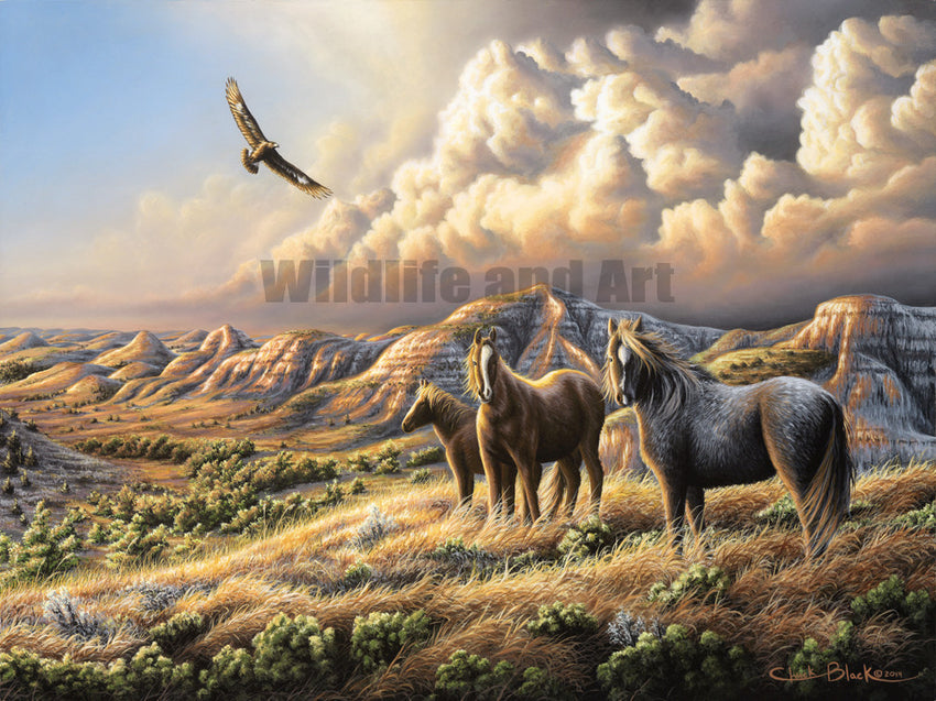 "Wildlife Landscape Canvas Art Print - ""Under Wild Skies"" - art print - original art - Wildlife and Art by Chuck Black"