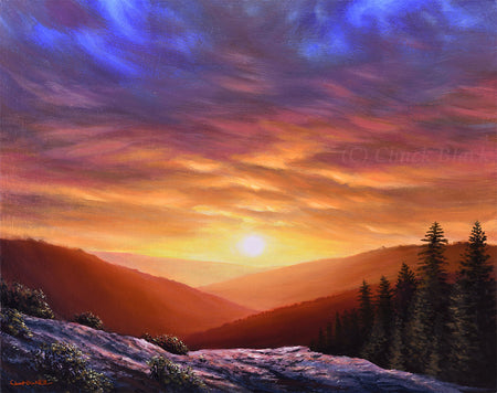 "Sunset Landscape Painting - ""Simply Perfect"" 16x20"