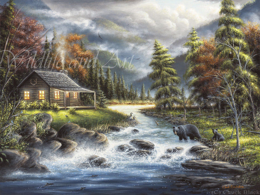 "Mountain Cabin Canvas Art Print - ""As Autumn Approaches"" - art print - original art - Wildlife and Art by Chuck Black"