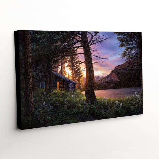 """Blissful Solitude"" - Rustic Cabin Canvas Art Print"