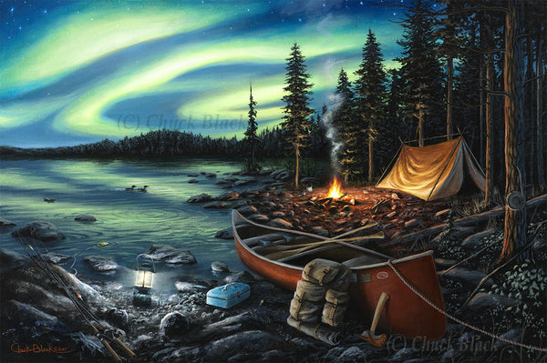 "Northern Lights Camping Canvas Print - ""Campfire Memories"""
