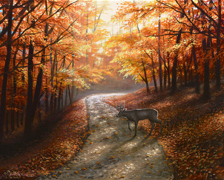 "Fall Landscape Canvas Wildlife Art Print - ""Autumn Bliss"""