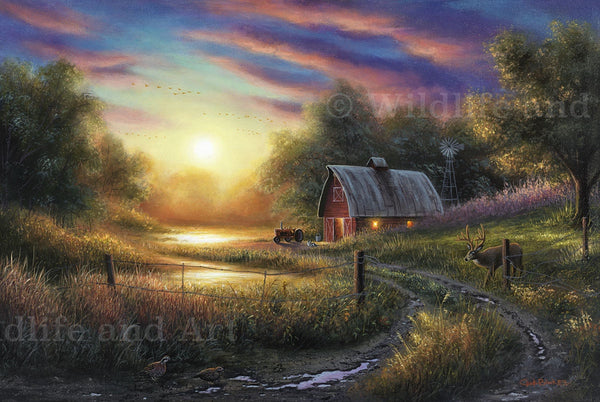 "Cabin Nostalgia Canvas Art Print - ""Evening Routine"" - art print - original art - Wildlife and Art by Chuck Black"