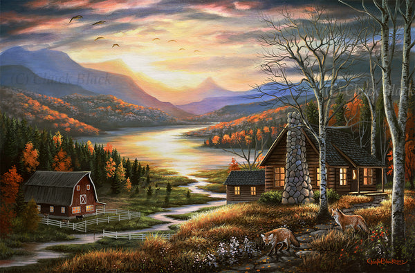 "Rustic Home Landscape Art Print - ""Evening Visitors"""