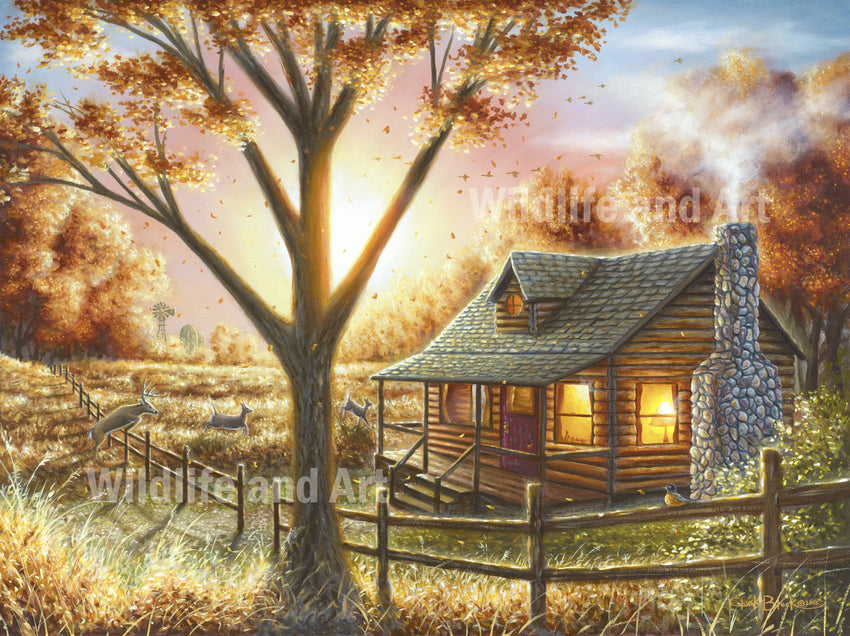 "Cabin Nostalgia Canvas Art Print - ""Fall Memories"" - art print - original art - Wildlife and Art by Chuck Black"
