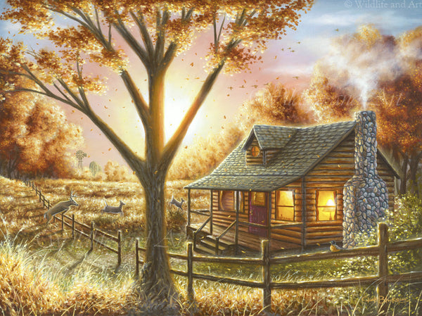 "Cabin Nostalgia Limited Edition Print - ""Fall Memories"" - art print - original art - Wildlife and Art by Chuck Black"