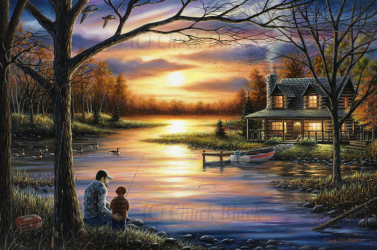 "Country Cabin Canvas Art Print - ""Unforgettable Memories"""